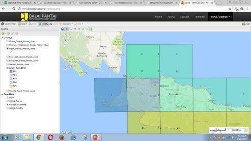 Tampilan map webgis balaipantai
