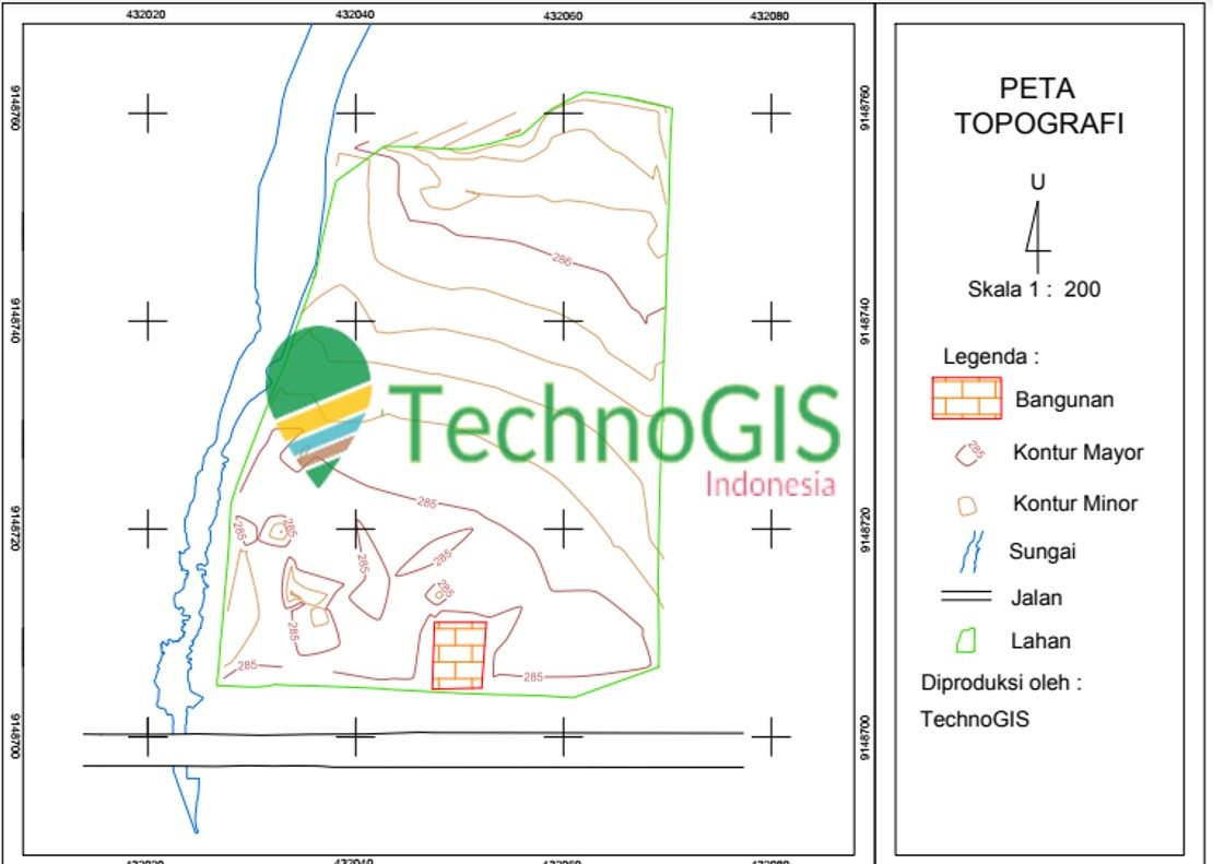 hasil contur peta topografi menggunakan autocad