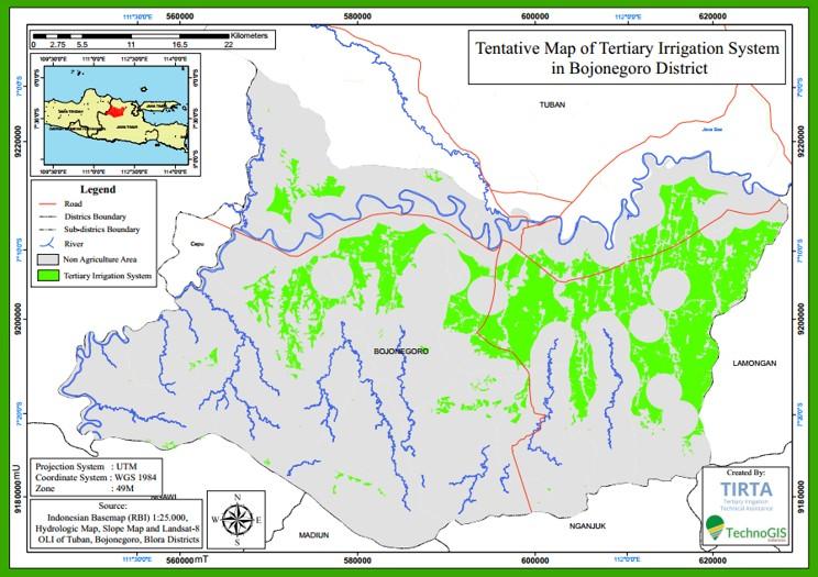 Hasil pemetaan sawah di zona irigasi tersier area Bojonegoro