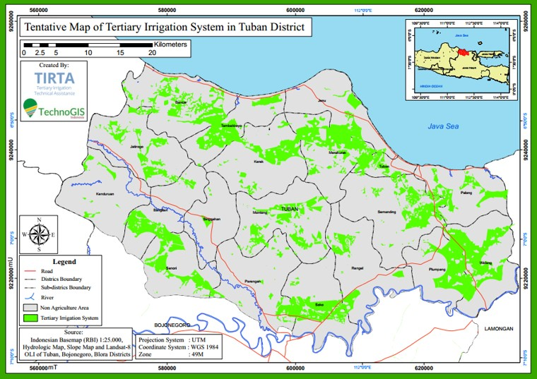 Hasil pemetaan sawah di zona irigasi tersier area Tuban