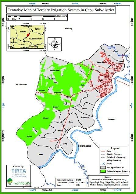 Hasil pemetaan lahan sawah di zona irigasi tersier di Kec Cepu