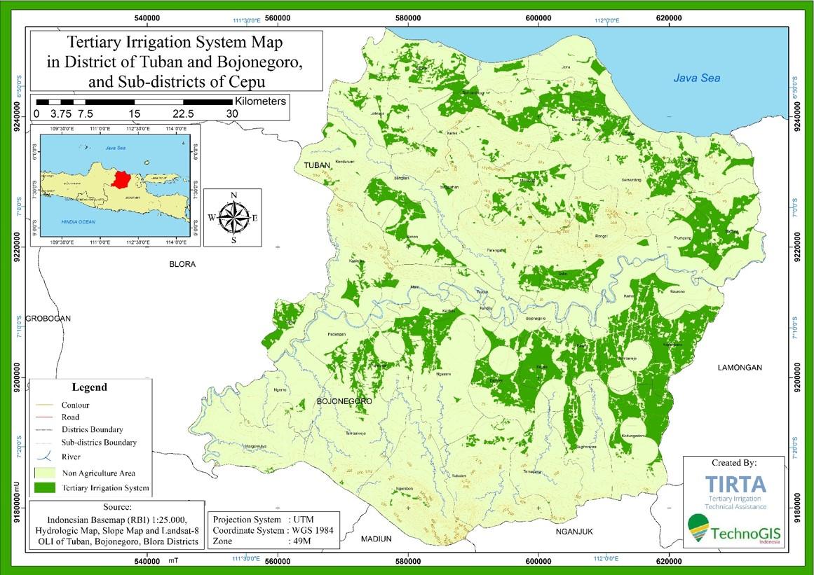 Hasil pemetaan sawah di zona irigasi tersier area kajian ( Tuban, Bojonegoro, Kec Cepu )